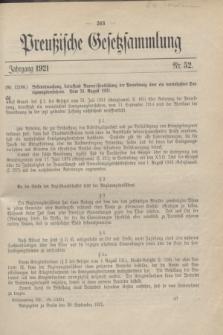Preußische Gesetzsammlung. 1921, Nr. 52 (28 September)