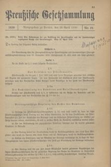 Preußische Gesetzsammlung. 1930, Nr. 14 (23 April)