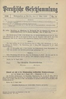 Preußische Gesetzsammlung. 1930, Nr. 16 (17 Mai)