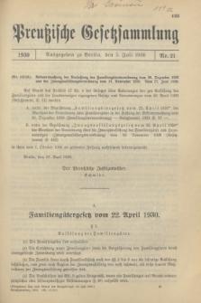 Preußische Gesetzsammlung. 1930, Nr. 21 (5 Juli)