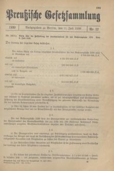 Preußische Gesetzsammlung. 1930, Nr. 22 (11 Juli)