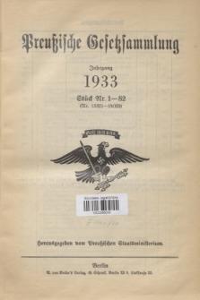 Preußische Gesetzsammlung. 1933, Spis treści