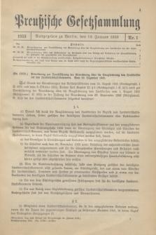 Preußische Gesetzsammlung. 1933, Nr. 1 (10 Januar)