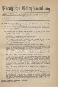 Preußische Gesetzsammlung. 1933, Nr. 2 (20 Januar)