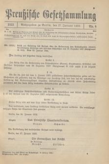 Preußische Gesetzsammlung. 1933, Nr. 4 (27 Januar)