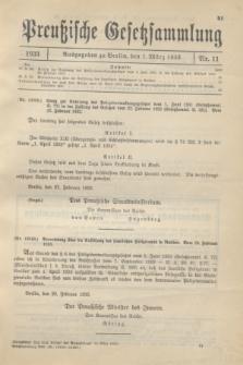 Preußische Gesetzsammlung. 1933, Nr. 11 (1 März)