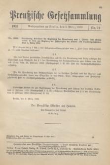 Preußische Gesetzsammlung. 1933, Nr. 12 (3 März)