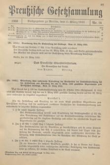 Preußische Gesetzsammlung. 1933, Nr. 14 (11 März)