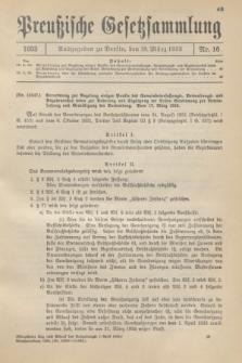 Preußische Gesetzsammlung. 1933, Nr. 16 (18 März)
