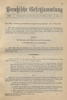Preußische Gesetzsammlung. 1933, Nr. 17 (20 März)