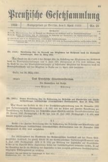 Preußische Gesetzsammlung. 1933, Nr. 23 (5 April)