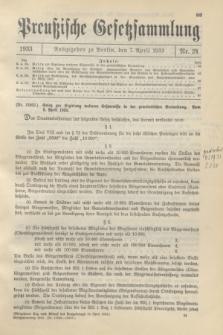 Preußische Gesetzsammlung. 1933, Nr. 24 (7 April)