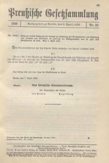 Preußische Gesetzsammlung. 1933, Nr. 25 (8 April)