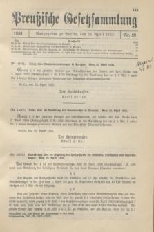 Preußische Gesetzsammlung. 1933, Nr. 28 (24 April)