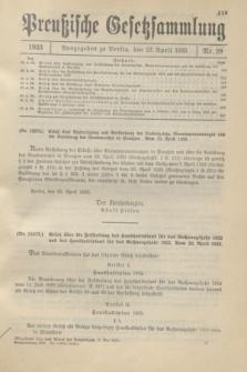 Preußische Gesetzsammlung. 1933, Nr. 29 (27 April)