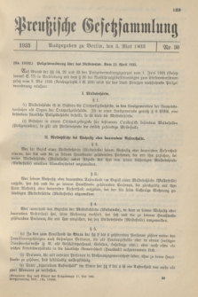 Preußische Gesetzsammlung. 1933, Nr. 30 (3 Mai)