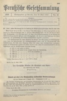 Preußische Gesetzsammlung. 1933, Nr. 36 (30 Mai)