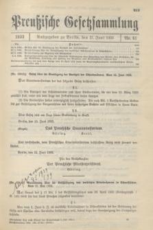 Preußische Gesetzsammlung. 1933, Nr. 41 (21 Juni)