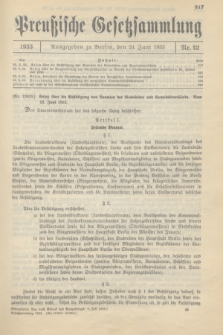Preußische Gesetzsammlung. 1933, Nr. 42 (24 Juni)