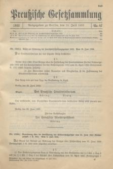 Preußische Gesetzsammlung. 1933, Nr. 47 (15 Juli)