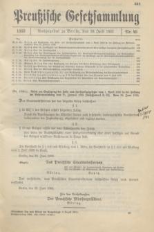 Preußische Gesetzsammlung. 1933, Nr. 49 (20 Juli)