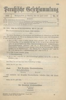 Preußische Gesetzsammlung. 1933, Nr. 50 (24 Juli)