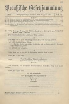 Preußische Gesetzsammlung. 1933, Nr. 51 (29 Juli)