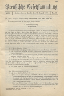 Preußische Gesetzsammlung. 1933, Nr. 53 (15 August)
