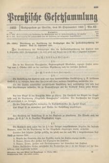 Preußische Gesetzsammlung. 1933, Nr. 62 (30 September)