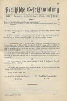 Preußische Gesetzsammlung. 1933, Nr. 67 (24 Oktober)