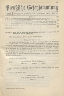 Preußische Gesetzsammlung. 1933, Nr. 70 (7 November)