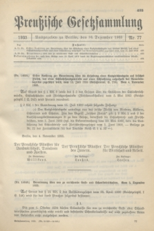 Preußische Gesetzsammlung. 1933, Nr. 77 (16 Dezember)