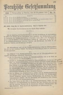 Preußische Gesetzsammlung. 1933, Nr. 79 (19 Dezember)