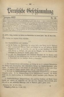 Preußische Gesetzsammlung. 1922, Nr. 19 (30 Mai)