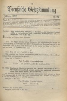 Preußische Gesetzsammlung. 1922, Nr. 20 (30 Mai)