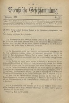 Preußische Gesetzsammlung. 1922, Nr. 27 (19 Juli)