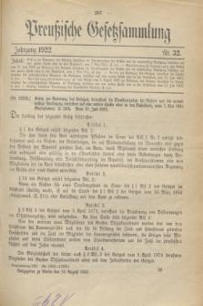 Preußische Gesetzsammlung. 1922, Nr. 32 (10 August)