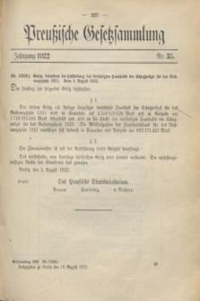 Preußische Gesetzsammlung. 1922, Nr. 35 (16 August)