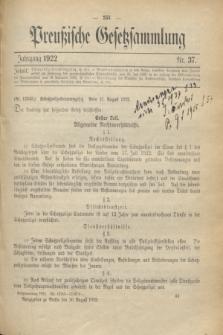 Preußische Gesetzsammlung. 1922, Nr. 37 (26 August)