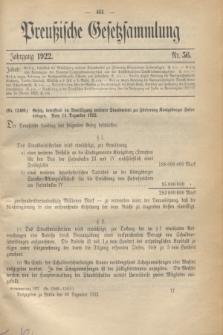 Preußische Gesetzsammlung. 1922, Nr. 56 (30 Dezember)