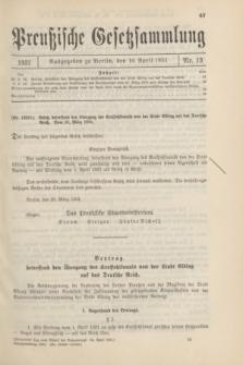 Preußische Gesetzsammlung. 1931, Nr. 13 (10 April)