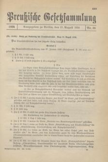 Preußische Gesetzsammlung. 1934, Nr. 36 (21 August)