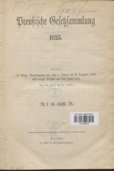 Preußische Gesetzsammlung. 1923 (Spis treści)