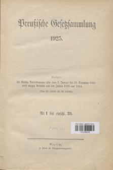 Preußische Gesetzsammlung. 1925 (Spis treści)