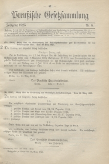 Preußische Gesetzsammlung. 1925, Nr. 8 (30 März)