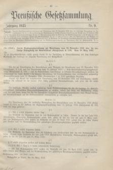 Preußische Gesetzsammlung. 1925, Nr. 9 (30 März)