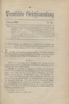 Preußische Gesetzsammlung. 1919, Nr. 44 (22 October)