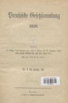 Preußische Gesetzsammlung. 1920 (Spis treści)