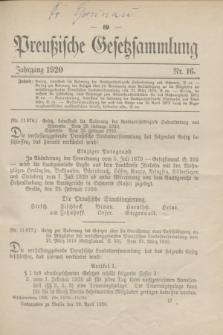 Preußische Gesetzsammlung. 1920, Nr. 16 (29 April)