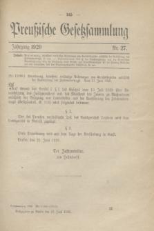 Preußische Gesetzsammlung. 1920, Nr. 27 (23 Juni)